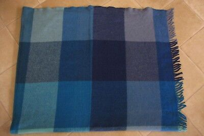 Gorgeous blue check ST ALBANS Wool Picnic blanket rug throw