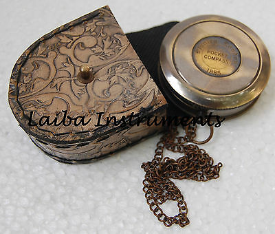 Nautical Vintage Antique Style Brass London 1885 Poem Compass With Robert Frost