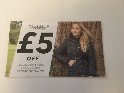 £5 off voucher at PEACOCKS CLOTHES On line / Store valid 4 / 11