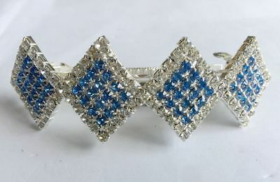 blue+Clear square Lady Girl's full Crystal Rhinestone Barrette Hairpin Hair Clip