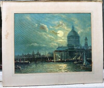 1950/60s  IMPRESSIONIST OIL PAINTING OF THE THAMES IN LONDON - E.FLETCHER