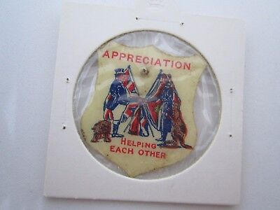 1940 Helping Each Other Vintage Paper/celluloid Badge Scarce In Fine Condition