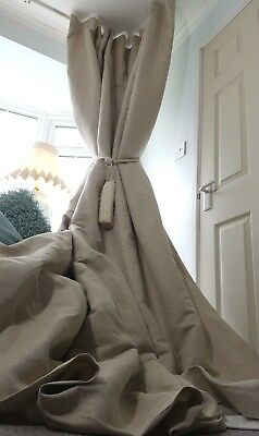 """NEW Quality 100%Irish Linen Natural Blanket Lined Heavy 93"""" L 55"""" Wide Curtains"""