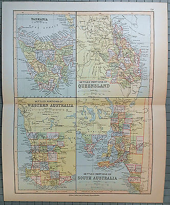 Original Map of  the Settled Portions of Australia by Wm Collins Sons & Co c1875