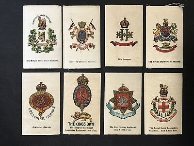 Vintage Silk Cigarette Card CRESTS BRITISH ARMY MILITARY x 8 Unbranded