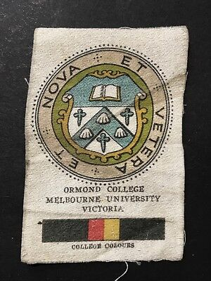 Silk Cigarette Card CRESTS & COLOURS AUSTRALIAN Ormond College Melbourne Uni VIC