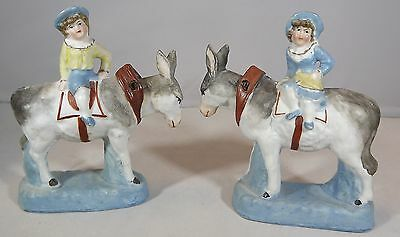 Antique Pair Of Victorian Donkey And Rider Nodders Nodding Head Figurines