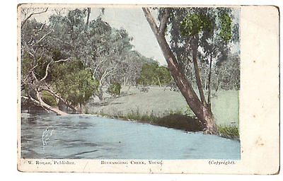 Vintage Postcard, Burrangong Creek, Young NSW Australia, with stamp 1909
