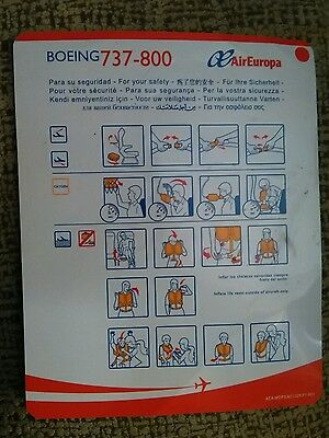 Safety card Air Europa Boeing 737-800 Safety on board 2015
