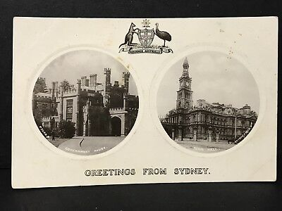 Vintage Photo Postcard GREETINGS FROM SYDNEY Government House, Town Hall, Rotary