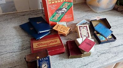 Collection of 11 packs of antique vintage playing cards and games