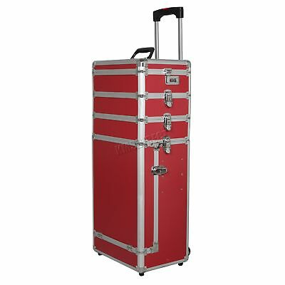 FoxHunter Red Makeup Beauty Cosmetic Hairdressing Nail 4 In 1 Case Box Trolley