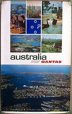 Qantas Travel Poster for Travel to Australia 1960s or 1970s