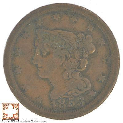 1853 Braided Hair Half Cent *XB42