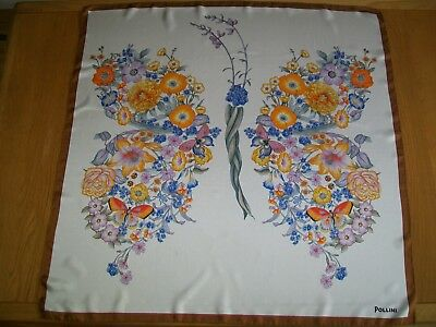 Pollini. Beautiful Large Insects Butterflies & Flowers Design Vintage Silk Scarf