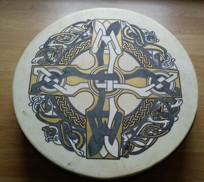 "Bodhran Drum Waltons 12"" Celtic Cross Design Instrument / Folk Music"