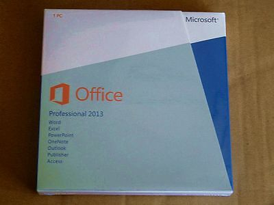 Sealed! Microsoft Office 2013 Professional Product Key Card+DVD 1 PC