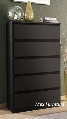 Modern black Chest of Drawers - 5 Drawers Bedroom Furniture Cabinet   Sideboard