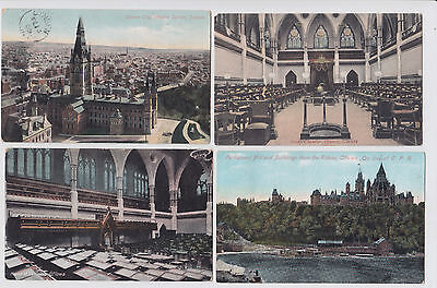 Canadian Parliament Building Post Cards (4 in all) Pre 1916 Fire