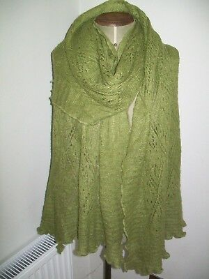Agnes B. Paris. Huge & Beautiful Sage Green Cobweb Vintage Wool Scarf
