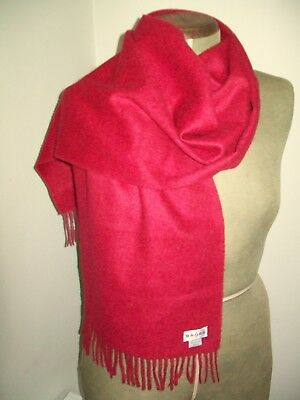 Brora. Large & Beautiful Raspberry Pure Scottish Cashmere Scarf