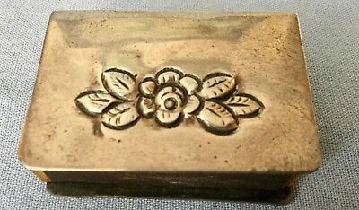 VINTAGE SILVER PLATED MATCH BOX HOLDER with FLORAL MOTIF * MARKED 25/100C