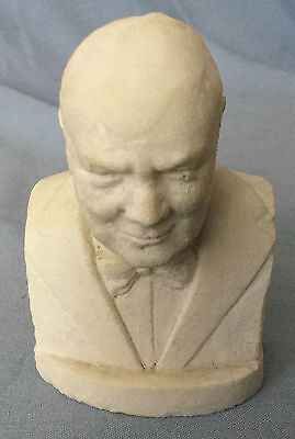 """Small Bust Of Winston Churchill * Very Unique * 4"""" High By 2 1/2""""  Wide"""