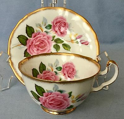 Vintage ROYAL ADDERLEY Fine Bone China Cup and Saucer * GORGEOUS PINK ROSES