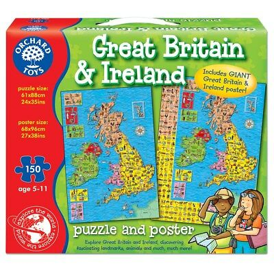 Orchard Toys Großbritannien & Irland Map and Poster Bildungs Lernen Puzzle