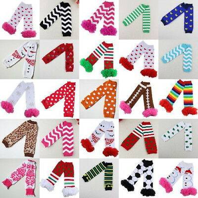 Newborn Baby Long Socks Leggings Leg Warmer Orange and White Dots