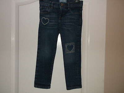 Girls Gap Blue Skinny Jeans with Hearts Age 4 Years