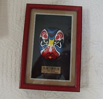The Mask Of Sichuan Opera In Shadow Box. (8-1/2 x 5-3/4 inches)