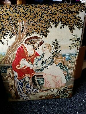 Stunning large early embroidered panel of man and lady courting - unsure of date
