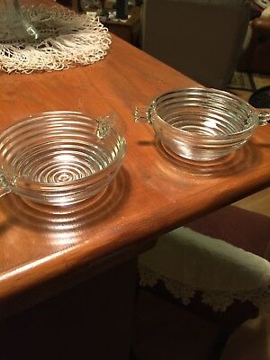 2 Vintage Anchor Hocking Manhattan 4.5 Berry Bowls In Ribbed Art Deco Design