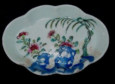 UNUSUAL CHARMING 18th C CHINESE QIANLONG FAMILLE ROSE SPOON REST STAND DISH