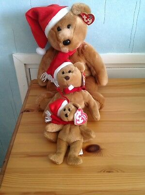 Rare Ty Beanie Buddy Bear And Teenie Baby 1997 Holiday Bears