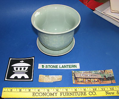 Asian Celadon Planter Pot with Saucer Stone Lantern Highlands NC VTG Tag Chinese