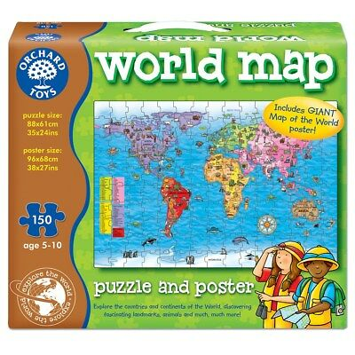 Orchard Toys World Map & Poster Educational Learning Puzzle