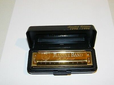Gold Limited Edition 1896-1996 M. Hohner Marine Band Harmonica Key C In Case