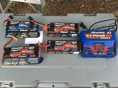 Traxxas Ez Peak Dual Charger W/3 3 Cell 5000mah And 1 2Cell 5800mph Batteries