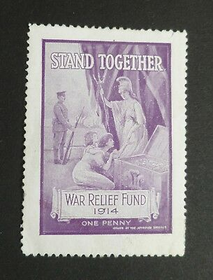 1914, One Penny Stamp, War Relief Fund, Stand Together.