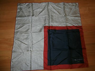 Vtg Yves St-Laurent Paris Red, White & Blue Polka Dots Silk Hand Rolled Scarf