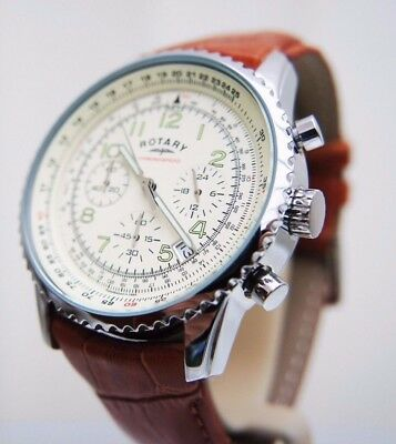 NEW Rotary Men's Watch Chronograph Brown Tan leather RRP £190 Boxed
