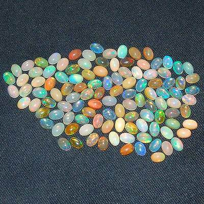 112 Pcs ~ 6mm/4mm Untreated AAA Natural Ethiopian Opal Lot ~ Strong Color Play