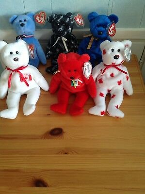6 Rare Retired Ty Beanie Babies With Tags Around The World