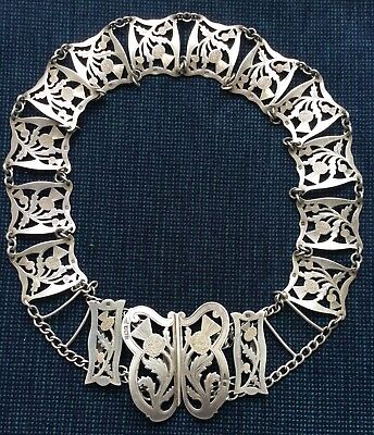 "Antique Solid Silver ladies ""Scottish Thistle"" Belt and Buckle 1909"