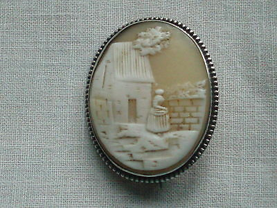 Antique Victorian Silver 'rebecca At The Well' Carved Shell Cameo Brooch