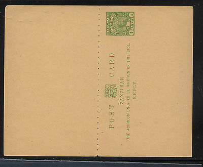 Zanzibar   postal  reply  card  unused      KL0704