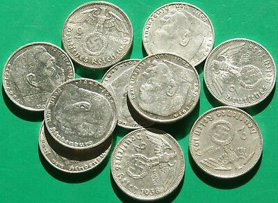 GERMAN LOT OF 10 SILVER COINS 2 Reichsmark