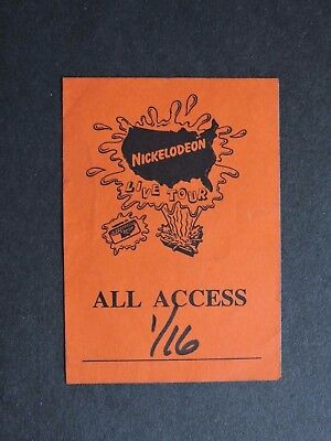 1993 Nickelodeon Live Tour Backstage Pass All Access ! Vintage Tv Cloth Sticker